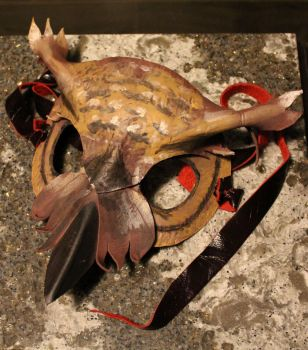 Handmade Leather Great Horned Owl Mask by SerenFey