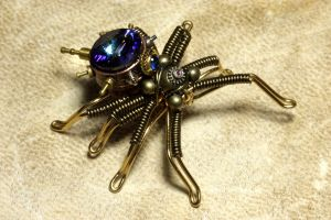 Miniature Steampunk Spider by CatherinetteRings