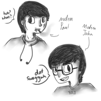 Modern Day Paul and John by deerrs
