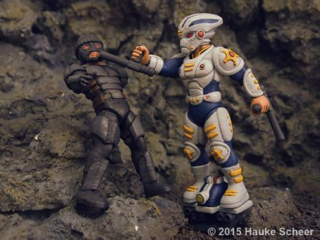 3d printed sofubi figures police and thief by hauke3000