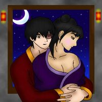 Mai and Zuko cuddle time color by Fallonkyra