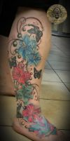 Lilies Butterflies color tat by 2Face-Tattoo