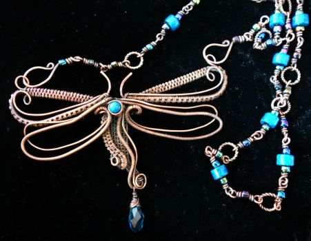 Dragonfly necklace by cymberrain
