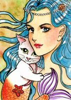 Mermaid and white mercat by JellyRollDesigns
