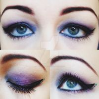 Purple and Teal Eye Makeup by emmaghostprints