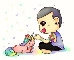 Chester and his baby unicorn by koy-kartoon