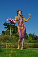 Hey Jude psychadelia 60s body paint happy pose by Bodypaintingbycatdot