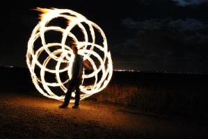 Fire Poi at the beach. by ReubenHarvey