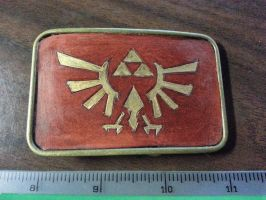 Legend of Zelda Hand tooled leather belt buckle by deadlanceSteamworks