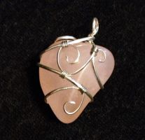 Reversible Wire-Wrapped Rose Quartz Pendant by FaerieForgeDesign