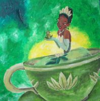 Princess Tiana and Naveen in Tea Cup by billywallwork525