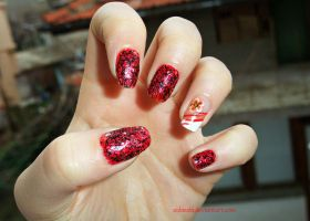 red manicure cute flower by SoBiEsKii