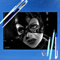 Catwoman - Negative Drawing by Liam York by MrYorkie