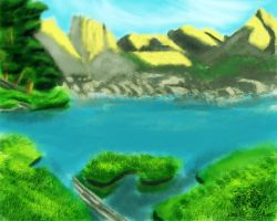 Mountains and Pond by Kivusa