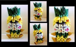 3D Origami Girl in Pineapple suit by Rajlakshmi