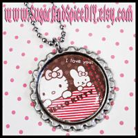 Hello Kitty Bottle Cap by SugarAndSpiceDIY