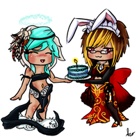 Commission: Chibi's Birthday cake by SilveronWolf