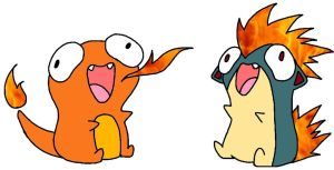 Charmander and quilava by corathecat