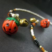 Jack o'Lantern Beaded Bookmark by Gilliauna