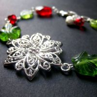 Silver Poinsettia Bracelet by Gilliauna