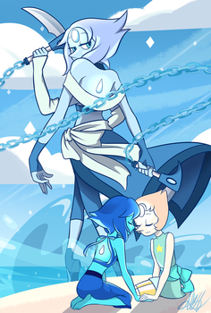 Moonstone Fanfusion - Lapis Lazuli and Pearl by MagicHeartACH