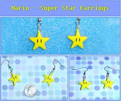 Mario Super Star Earrings by YellerCrakka