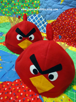 Red Angry bird Fleece Hat by PandaRabbitPlanet