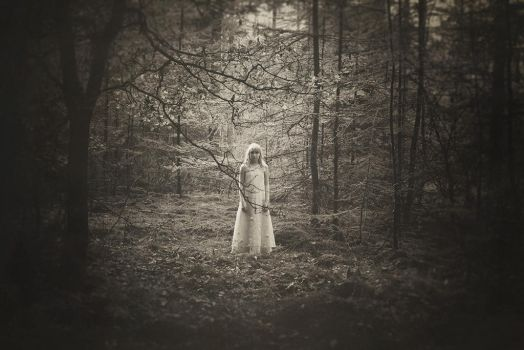 Little Girl In The Forest by LaMusaTriste