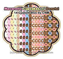Macaron, Cupcakes, and Donuts Custom BGs by CNM by Crystal-Moore