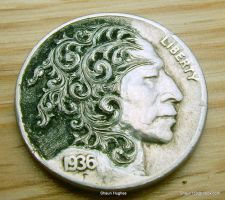 Hobo Nickel Scrollman by Shaun Hughes Carved Coin by shaun750