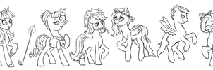 Mane Six grown up by Pikokko