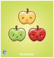 Kawaii Apple Trio by KawaiiUniverseStudio