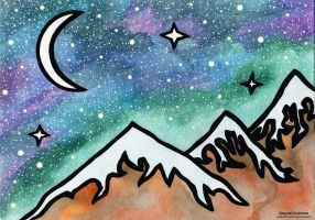 InkTober Day 27 - Night Sky Mountains! by ImportAutumn