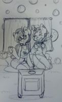 Bubbles, Tea, and a Show by TheCat-In-TheClouds
