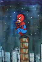 Spidey Grabs a Slice by Neon-Tiger-7