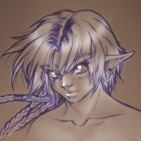Semi-Elf Sketch Portrait by RosaKiddy