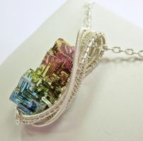 Woven Bismuth Crystal Necklace in Silver - BSMTH49 by HeatherJordanJewelry