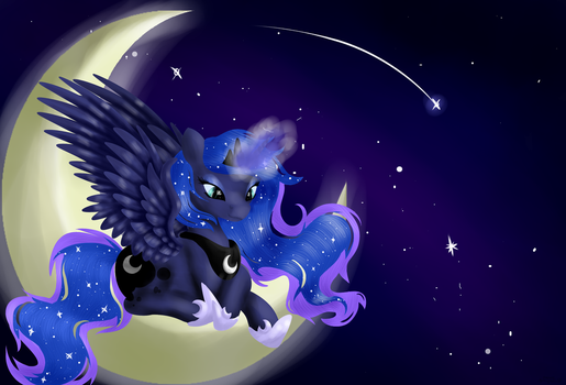 Luna on the moon by LunarMoonPoni