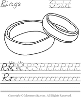 Mommysbiz | R-Rings-Gold Preschool Worksheet by DanaHaynes