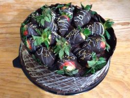 Chocolate cake with strawberries by ailgara