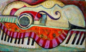 # 14 Piano, Guitar, And Violin Abstract24x14 Mixed by moredragons