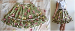 Floral Rose Skirt by xXnijuuniXx