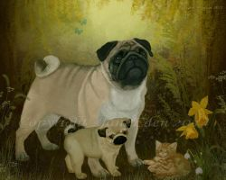 Spring Pugs and kitten by JaneEden