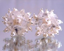 Pearl and quartz post earrings E934 by Fleur-de-Irk