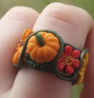 Polymer Clay Pumpkin Ring by DruidOfTheValeDesign