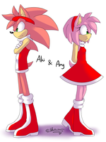 .:Sonic:. Aki 'n' Amy COLORED by SilverfanNumberONE