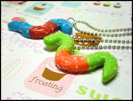 Sour Gummi Worm Necklace by GrandmaThunderpants