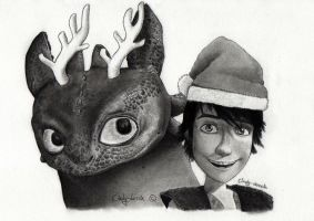 Toothless and Hiccup wish you a Merry Christmas by cindy-drawings