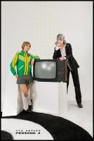 P4 cosplay: Souji and Chie by ShichiTen