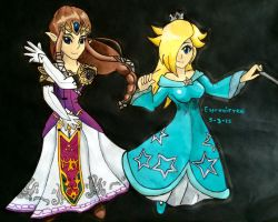 Zelda and Rosalina by Espevoirvee